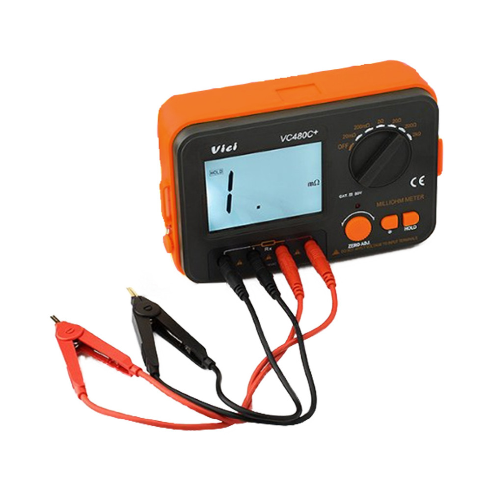 M003 VC480C+ 3 1/2 Digital Milli-ohm Meter multimeter with 4 wire test accuracy Backlight FREE SHIPPING vc480c 3 1 2 digital milli ohm meter multimeter with 4 wire test accuracy backlight vici with high quality