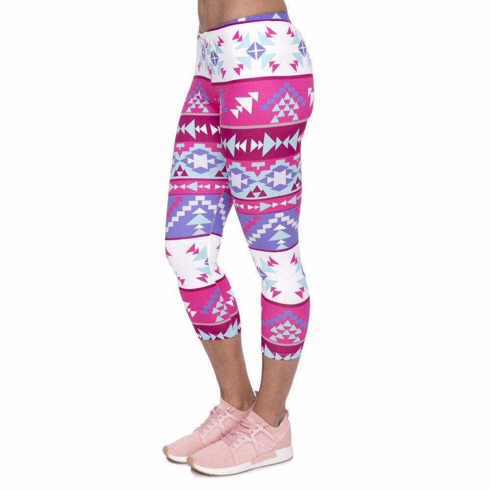 Summer Women Capri Leggings Boho Pink Printing Sexy Mid Leg 3/4 Movement Leggins Fashion Capri Pants