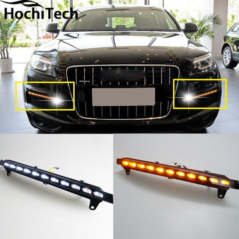 led drl daytime running light daytime driving /running light, led fog lamp for Audi Q7 2006-2009 with yellow turn signals