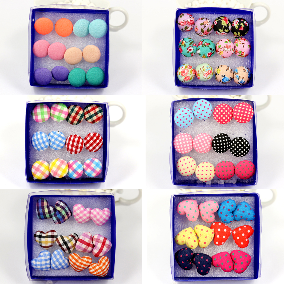 Factory Factory Wholesale Directly Fashion Cute Cloth Button Plastic Stick Anti-allergy Stud Earrings Round Heart 6pairs