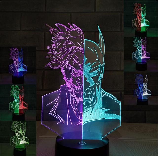 Batman Action Figure Joker 3D Led Night Light Lamp Double Color ...