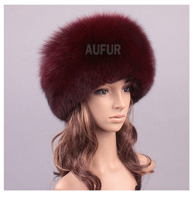 Women Fox Fur Hats with Sheep Leather 100% Natural Fur Caps Solid Color Headwear Winter AU00813