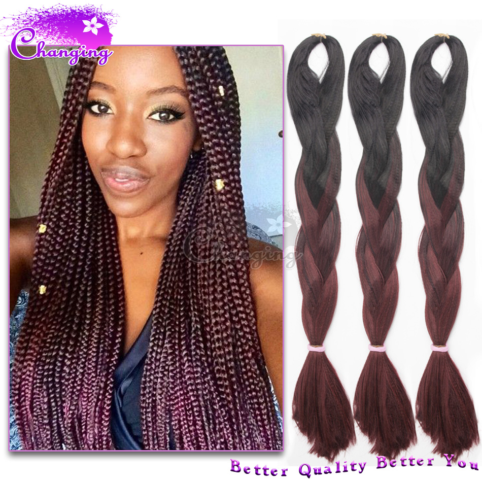10pcslot 24quot braids synthetic hair extensions blackred