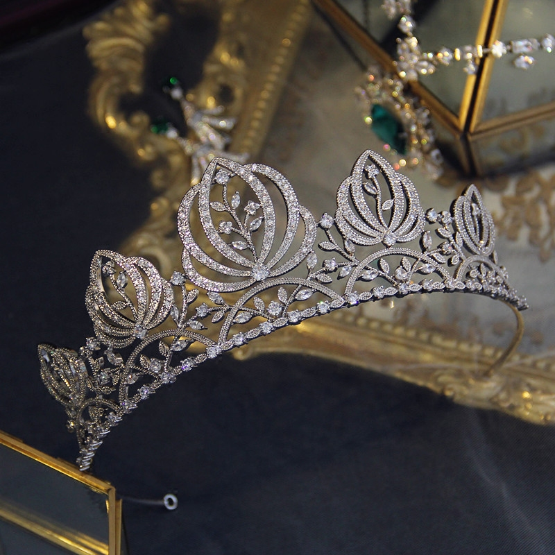 Rosebridalpark New Bridal Princess Cubic Zirconia Crystal Tiaras and Crowns CZ Silver Wedding Headband Prom Party