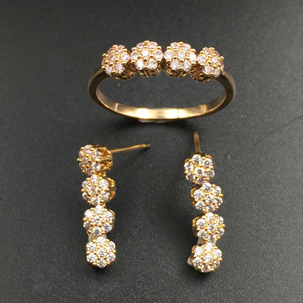 HADIYANA Fashion Cubic Zirconia Choker Necklace 4pcs Jewellery Sets For Women Wedding Party Gift Bridal Jewelry Acessories CN451