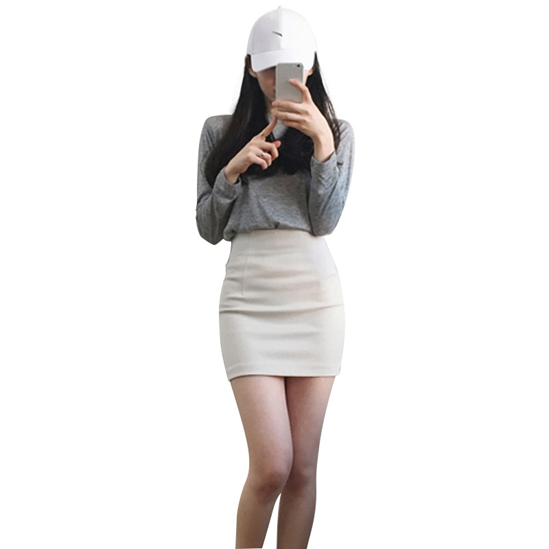 Korean Style Black Package Hip Saia Skirts High Waist Irregular Hem Pencil White Mini Skirt 0313-39