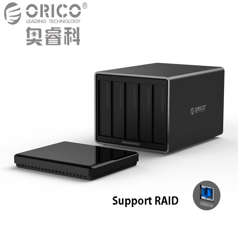 ORICO Tool Free USB3.0 to SATA 5-Bay 5Gbps RAID Hard Drive Docking Station with 12V 6.5A Power Adapter Support UASP HDD Case orico 9528u3 2 bay usb3 0 sata hdd hard drive disk enclosure 5gbps superspeed aluminum 3 5 case external box tool free storage