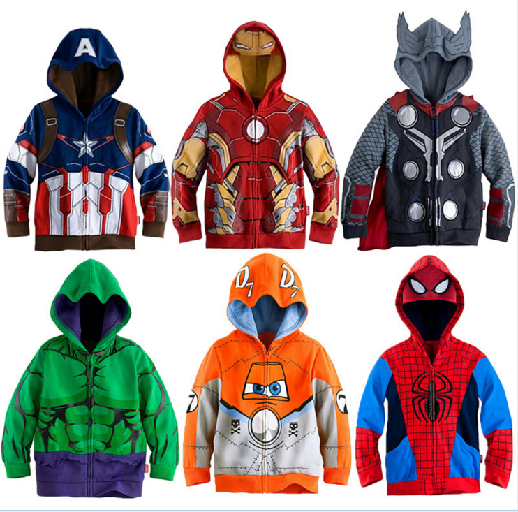 Spiderman Sweatshirt Jacket Boys Hoodies Marvel Hulk Avengers Superhero Thor Iron Man