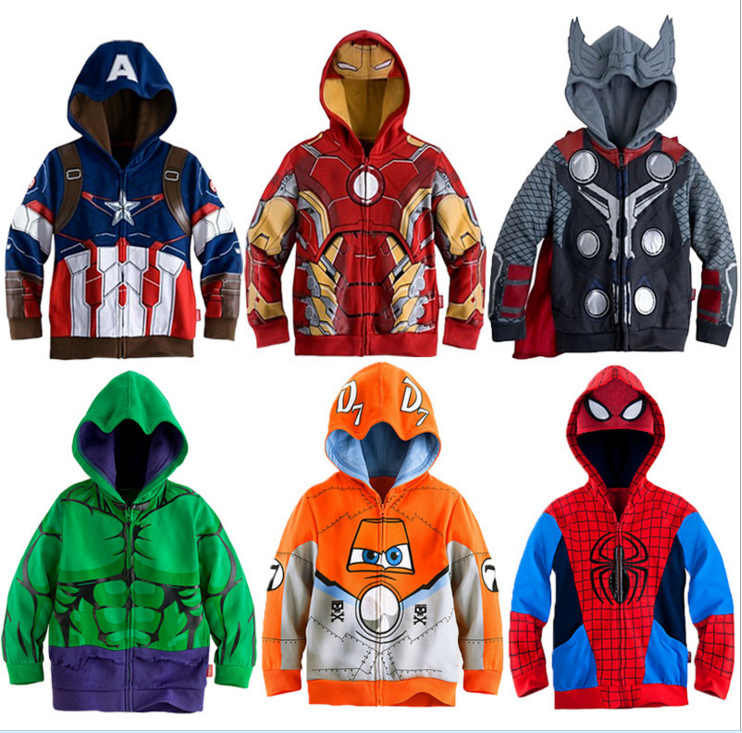 Boys Hoodies Avengers Marvel Superhero Iron Man Thor Hulk Captain America Spiderman Sweatshirt for Boys Kid Cartoon Jacket 2-7T