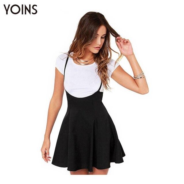 YOINS New 2017 Women Fashion Black Skater Skirt with Shoulder Straps Pleated Hem Braces Skirt Saia Femininos Braces skirt