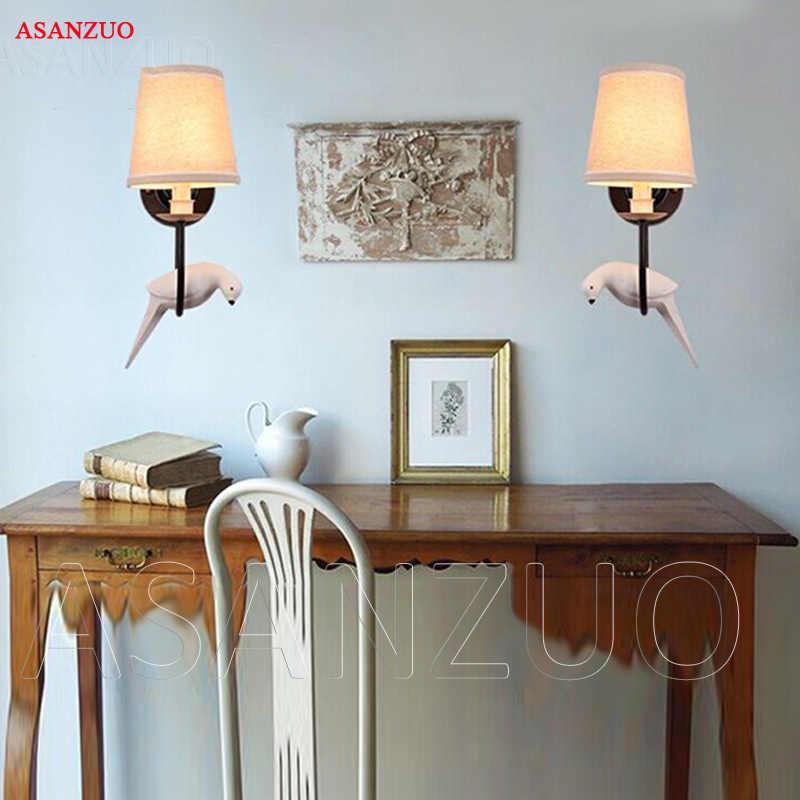 Nordic Утюг Винтаж американская настенная лампа светодиодный ночники настенный светильник пастырской личности Смола Птица подвесные светильники