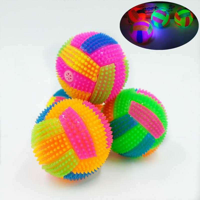 1pc Lighting Dog Toy Rubber Balls Dog Cat Pet Squeaky Toys Soft Rubber Pet Dog Chewing Toy Elastic Hedgehog Ball Puppy Toy