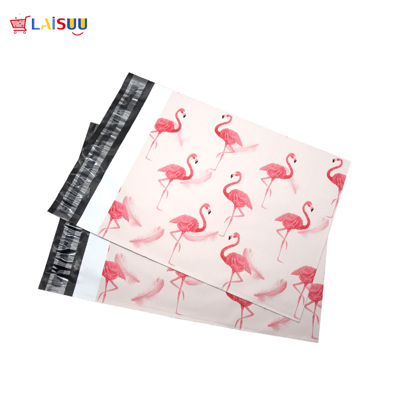 100pcs 25.5*33cm 10*13 inch Fashion Pink Flamingo pattern Poly Mailers Self Seal Plastic mailing Envelope Bags
