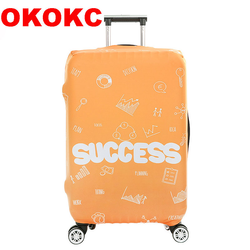 OKOKC Success Letter Elastic Luggage Dust Cover Travel Accessories on Road Protective Thickest Suitcase Cover for 18-32inch
