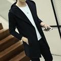 Outono nova moda casaco de trincheira dos homens de médio-longo puxar homme masculino sólida fina cardigan longo casacos de lã mens trench coat plus size 4xl