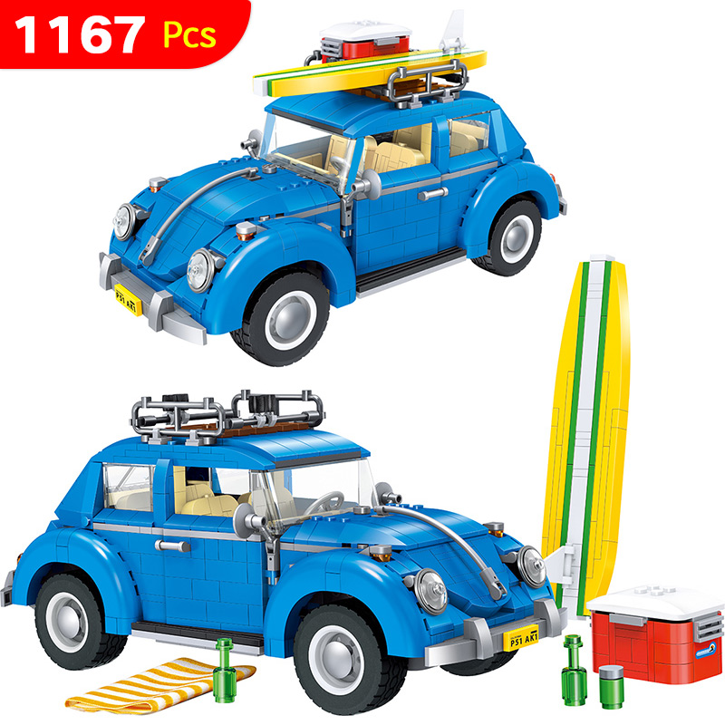 1167pcs Creator Series City Car Bricks Volkswagen Beetle Model Building Blocks Board Compatible Technic Toys for Children lepin 21003 series city car beetle model building blocks blue technic children lepins toys gift clone 10252