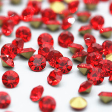 SS0-SS38 Light Siam Pointback Crystal Rhinestones Red Color Glass 3D Nail Art Decoration DIY Clothing Accessories