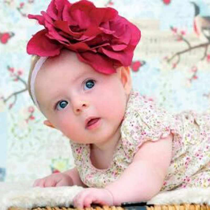 Baby Girl 3D Big Flower Headband Children Elastic Headwear Princess Party hair Accessories for 0 to 1 Years