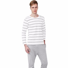 Men Pajama Cotton Gray Striped  O-neck Sleepwear Men DODOMIAN Home Clothes Plus Size L-3XL High Quality Male Underwear Set