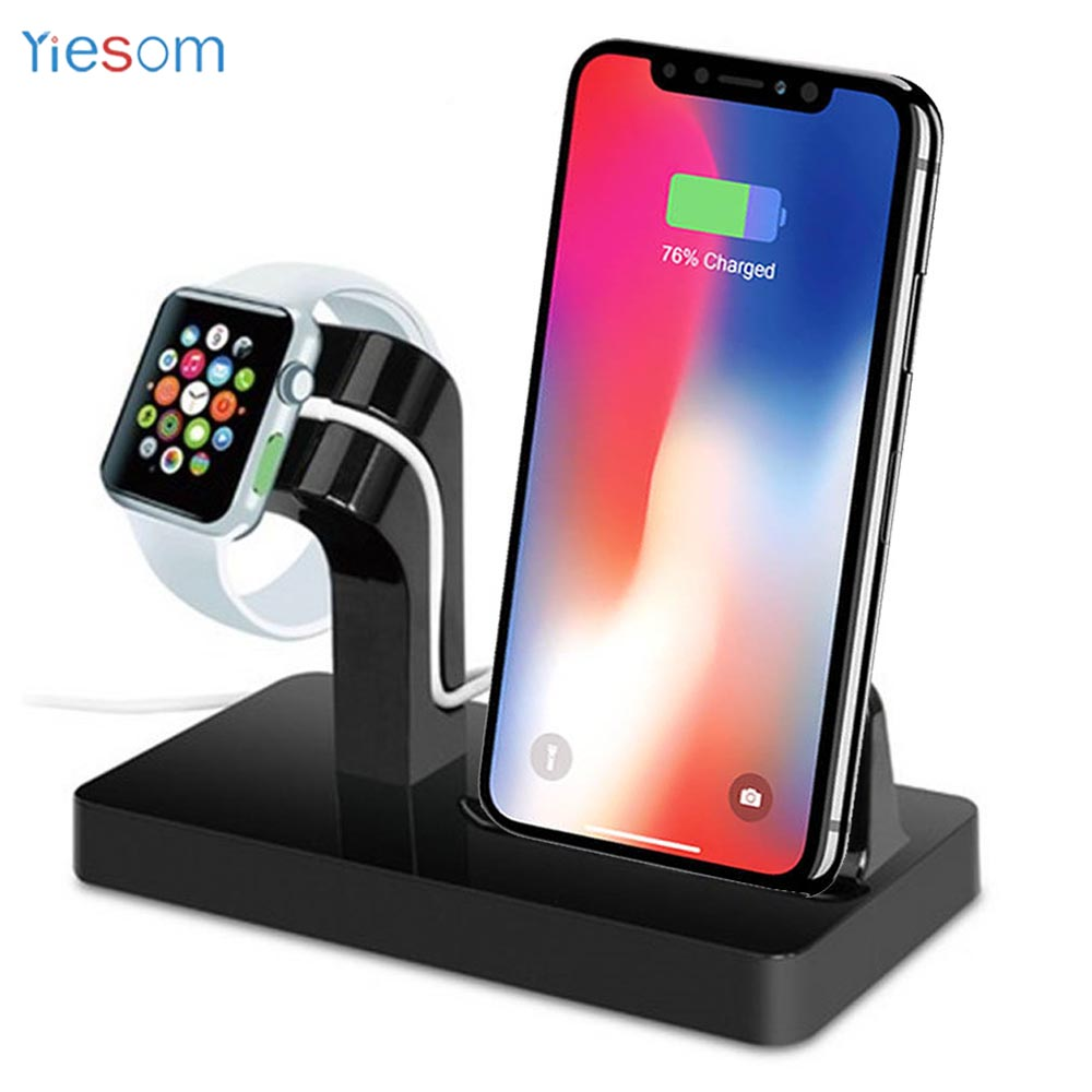YIESOM 2 in 1 Charging Dock Station Bracket Cradle Stand Holder Charger For iPhone X 8 7 6S Plus 5S Dock For Apple Watch Charger