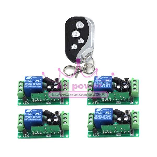Hot Sale DC12V 1CH wireless switch RF Wireless remote control switch system 1 transmitter +4 receiver Free Shipping free shipping dc12v mini 1ch wireless