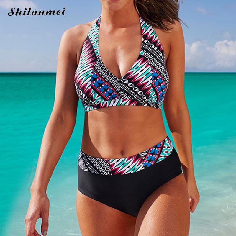 New Design Brazilian Bikini Set Printed Female swimsuit for women large size 6XL Halter maillot de bain femme 2017 maison jules new blue women large l umbrella printed surplice jumpsuit $79 059