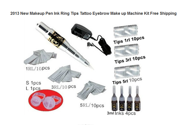 Permanent Makeup Kits Makeup Pen Ink Ring Tips Tattoo Eyebrow Make up Machine Kit  Tattoo Supplies best makeup pen machine eyebrow make up