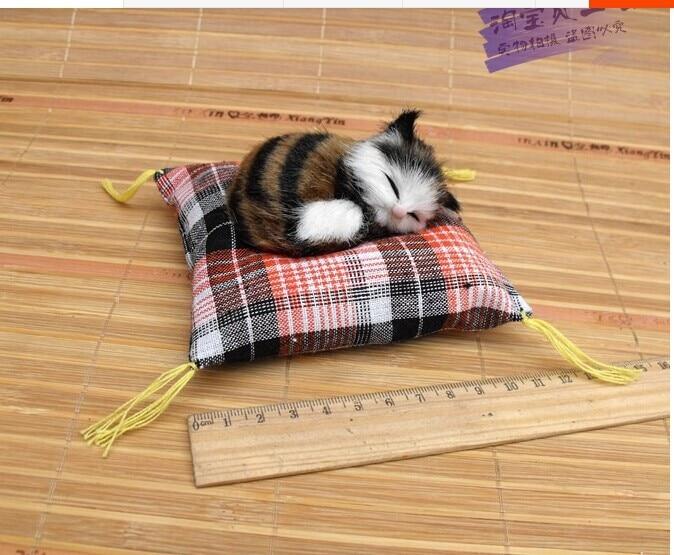귀여운 작은 시뮬레이션 고양이 미니 카키 수면 고양이 인형 자동차 장식 선물 인형 약 10cm
