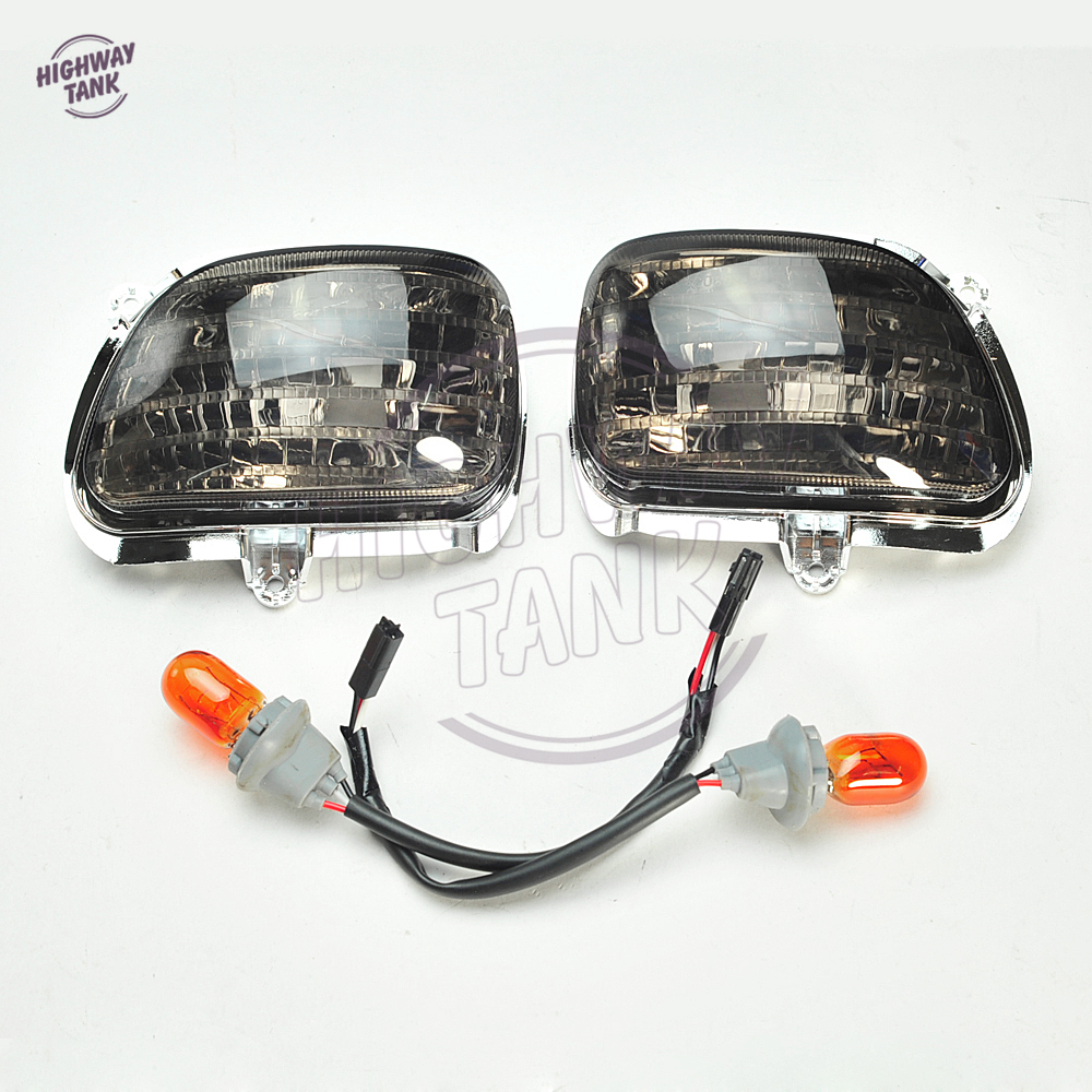 1 Pair Smoke  amp  Clear Motorcycle Front Side Turn Signal Light Blinker case for Honda Goldwing GL1800 2001-2014 free shipping