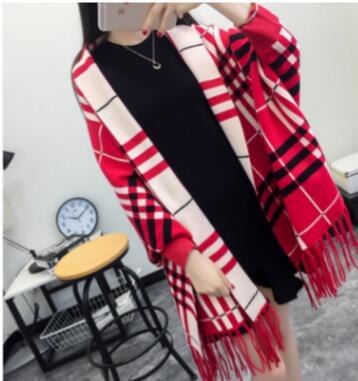 SC2 большой шарф Зимний вязаный пончо женский однотонный дизайнерский плащ женский длинный рукав летучая мышь пальто винтажная шаль - Цвет: Plaid Red