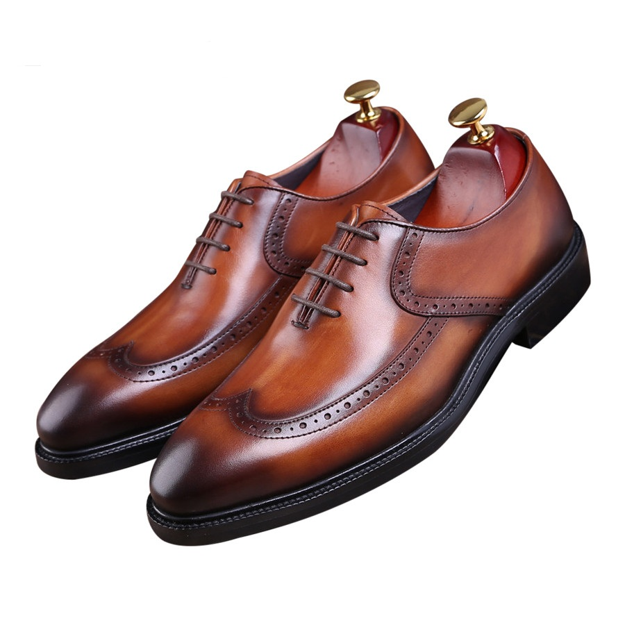 Fashion black / brown Goodyear Welt shoes oxfords mens wedding shoes genuine leather business shoes mens dress shoes 2016 luxury mens goodyear welted oxfords shoes vintage boss brogue shoes italian mens dress shoes elegant mens gents shoes derby