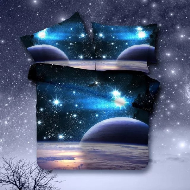 2016 hot 3d galaxy <font><b>bedding</b></font> set duvet/doona cover bed sheet pillow cases 3/4pcs bedclothes queen twin <font><b>XL</b></font> bed