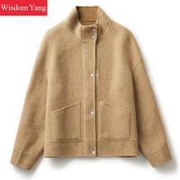 Для женщин Camelstriped овечья шерсть альпака короткие пальто для будущих мам куртки зимние теплые шерстяные Женский пальт