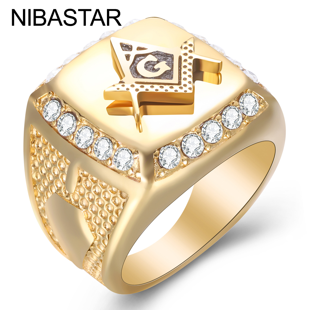 Acero inoxidable 316L Cool Gold Color Masón Anillo Hombres Hip Hop Iced Out Bling Crystal Masonic Rings Joyería de moda