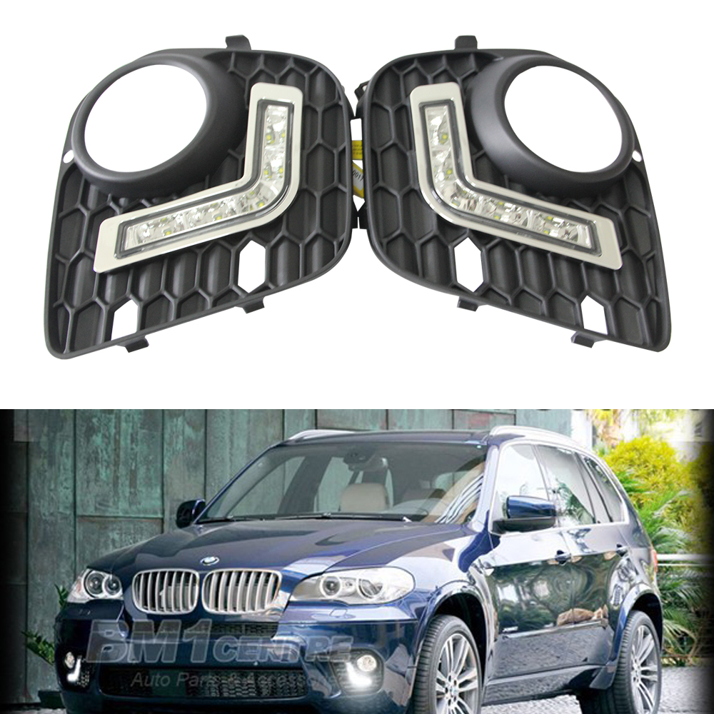 2pcs 5W 5-LED Front Right/Left Fog Light Lamp DRL Daytime Driving Running Lights for BMW E70 X5 LCI SUV (2010-2013) 2pcs left