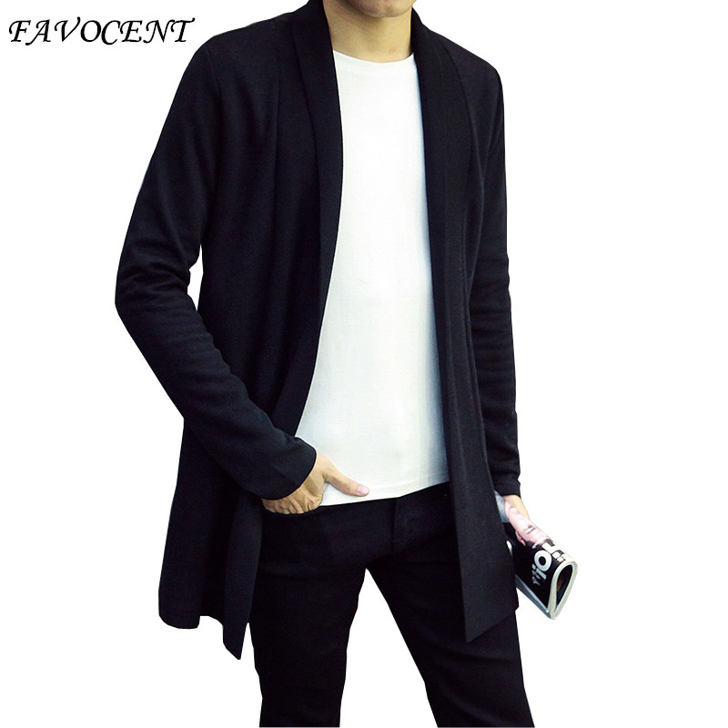FAVOCENT 2017 Hot Sell Middle- Long length Mens Solid Sweater Cardigan Trench Male Casual Autumn New Hot Design Free shipping
