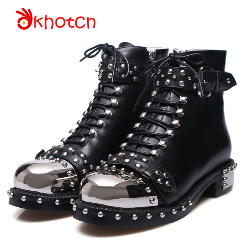 Okhotcn Shoes Woman Silver Buckle Metal Head Black Women Boots Spikes Shoes Casual Studded Rivets Zapatos Mujer Free Shipping women silver black rhinestone high heels with spikes sexy women pumps with spikes rivets crystal evening shoes with spikes