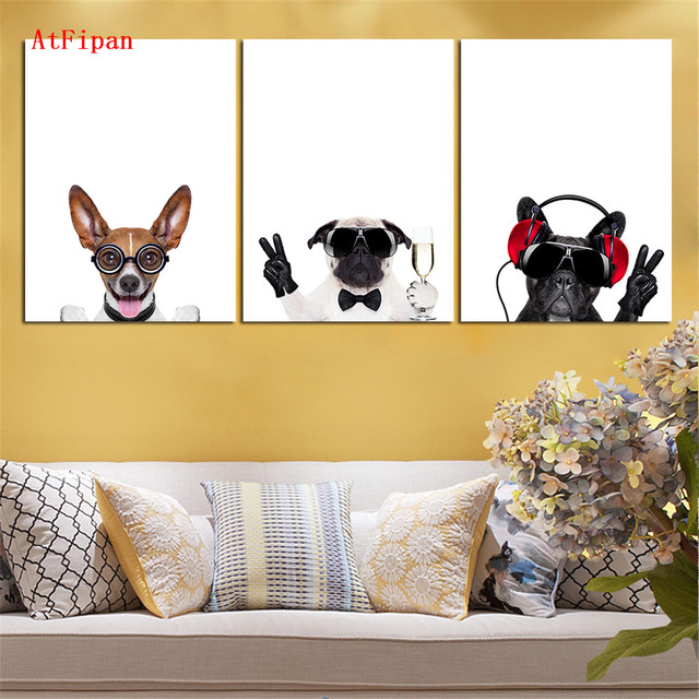 AtFipan Modern Abstract Nordic Oil Painting Canvas HD Dog Animal ...