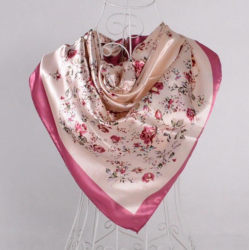 Дизайн женский Шелковый большой квадратный шелковый шарф из полиэстера, 90*90 см горячая Распродажа атласный шарф с принтом для весны, лета, осени, зимы - Цвет: beige pink 534