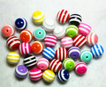 Free shipping !100pcs/lot  Mixed colors 20mm chunky striped resin beads for chunky necklace and bracelet