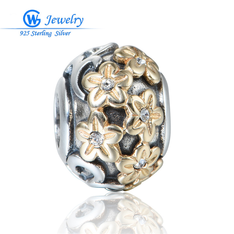 New Fashion 2016 Bijoux En Argent 925 Golden Flower Gold Color Jewelry For Women Bracelet Gw Fashion Jewelry E036H30 брелок gw jewelry