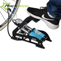 Rockbros mtbバイクフットエアーポンプ鋼ノースリップポータブル高圧ポンプ用自転車車のタイヤシングルまたはダブルチューブ2バル