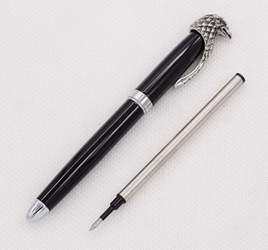 Image 4 - Fuliwen Owl Rollerball Pen Eagle Head Clip with Smooth Refill , Unique Style Vivid Black Collection Gift Pen for Office Business