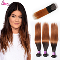 Unprocessed Ombre Virgin Hair With Closure Grace Brazilian Straight Hair With Closure Two Tone Brazilian Weave Hair With Closure