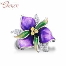 CANNER Blooming Enamel Flower Rings for Women Bridal Engagement Ring 925 Sterling Silver Ladies Girls Finger Jewelry Bague
