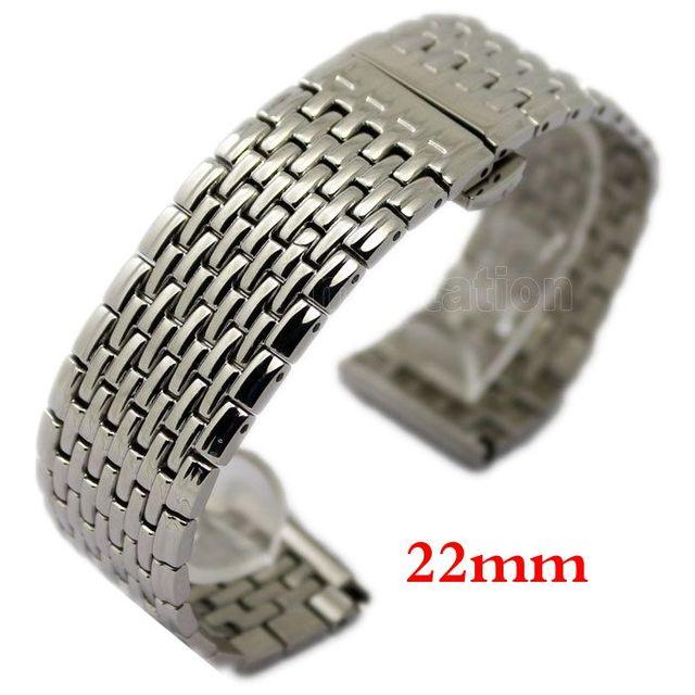 22mm Prata de Alta Qualidade Pulseira de Relógio Pulseira De Malha de Aço Inoxidável Com Duplo Impulso Frete Grátis