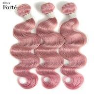 Remy Forte Hair Extension Pink Virgin Brazilian Hair Weave Bundles Single Bundles Body Wave Hair Bundles 45% Hair Proportion