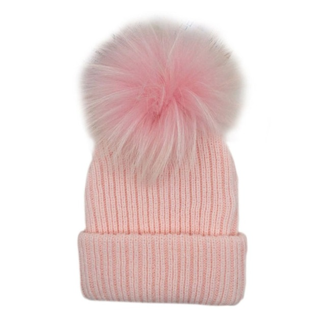 f9f4a95b7b7 Kids Candy Color Pom Pom Beanie Winter Warm Knitted Bobble Baby Fur Pompom  Hat Children Faux Raccoon Fur Pompon Winter Hat Cap