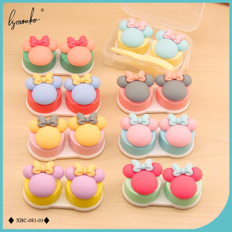 Men's Glasses Symbol Of The Brand Lymouko Hot Sale Cute White Color Panda Holder Contact Lens Case With Mirror Portable Contact Lenses Box For Gift Eyewear Accessories
