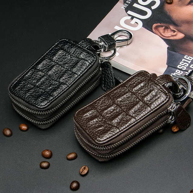 2017 new key bag men embossed multi-function car key bag zipper wholesale business waist hanging key bag wallet